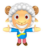 3D Sheep Mascot has been welcomed with both hands. 3D Animal Cha Stock Image