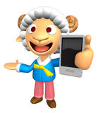 3D Sheep Mascot the left hand guides and the right hand is holdi Stock Photo