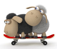 3d sheep on a skateboard Royalty Free Stock Images