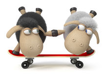 3d sheep on a skateboard Stock Photography