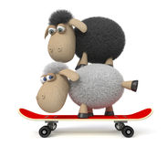 3d sheep on a skateboard Stock Image