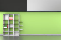3d Shelves with books on painted Green wall background Royalty Free Stock Photos