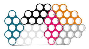 3D shelves design form colored circles Royalty Free Stock Image