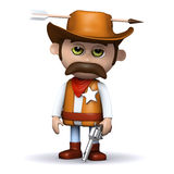 3d Sheriff hit by an arrow Royalty Free Stock Photography