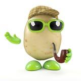 3d Sherlock potato detective. 3d render of a potato character dressed as Sherlock detective royalty free illustration