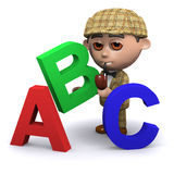 3d Sherlock teaches the alphabet Royalty Free Stock Photography