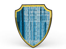 3d shield with binary code Royalty Free Stock Photos