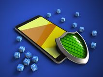 3d shield. 3d illustration of mobile phone over blue background with binary cubes and shield Stock Photos