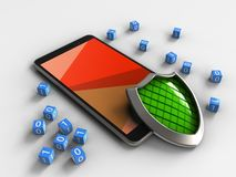3d shield. 3d illustration of mobile phone over white background with binary cubes and shield Royalty Free Stock Image
