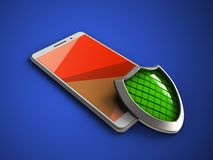 3d shield. 3d illustration of white phone over blue background with shield Royalty Free Stock Photos
