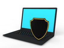 3d shield and laptop Royalty Free Stock Photography