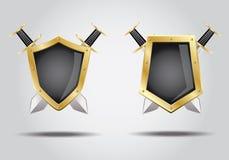 3d shield sword. 3d shield with crossing swords vector illustration