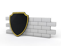 3d shield and wall Royalty Free Stock Photos
