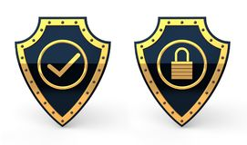 3D shields with lock and tick mark symbols Stock Photo