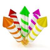 3d shinny en glanzende kleurrijke vuurwerkraketten royalty-vrije illustratie
