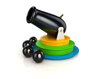 3d shinny and glossy circus cannon and 4 cannon balls Royalty Free Stock Images