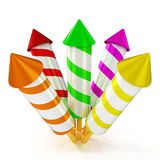 3d shinny and glossy colorful fireworks rockets. Fireworks render on white background Stock Photo