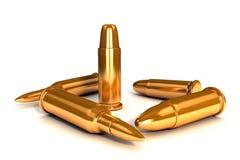 3d shinny golden bullets. Golden bullets on white background Royalty Free Stock Image