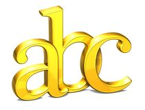 3D Shiny Gold Letter ABC on white background.  stock illustration