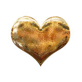 3D shiny golden metal heart Stock Photo