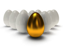 3d shiny golden and white eggs Royalty Free Stock Photos