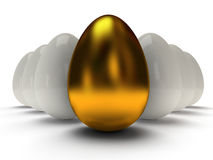 3d shiny golden and white eggs Stock Photos