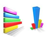 3D shiny graph. Illustration horizontal and vertical bar Stock Photos