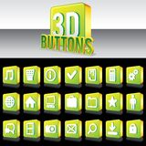 3D Shiny Green Buttons for Website or Apps. Vector. 3D Shiny Green Buttons for Website or Apps. Reflection for Black Background Royalty Free Stock Photo