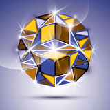 3D shiny mirror ball  on violet background. Vector fract Stock Image