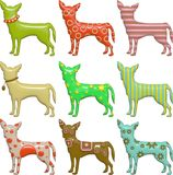 3d Shiny Patterned Chihuahua Silhouettes Royalty Free Stock Photos