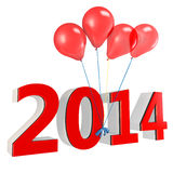 3d shiny red balloons with 2014. On white background Stock Photography