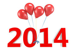 3d shiny red balloons with 2014 Royalty Free Stock Image