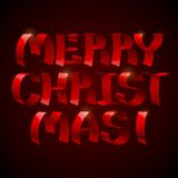 3d shiny red ribbons Merry Christmas text. On black background. RGB EPS 10 vector illustration Vector Illustration