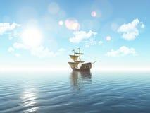 3D ship sailing on a blue ocean. 3D render of a ship sailing on a blue ocean Royalty Free Stock Photos