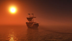 3D ship sailing on a sunset sea Stock Photography