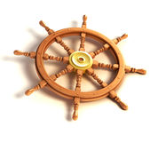 3d ship wheel isolated Stock Photos