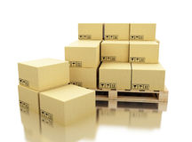 3d Shipping cardboard boxes on pallet Stock Photo