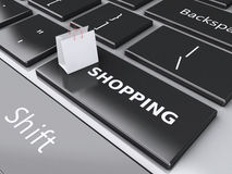 3d Shopping bag on computer keyboard. Online shopping concept. Stock Images