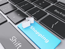3d Shopping bag on computer keyboard. Online shopping concept. Royalty Free Stock Images