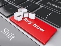 3d Shopping bag on computer keyboard. Online shopping concept. Stock Photos