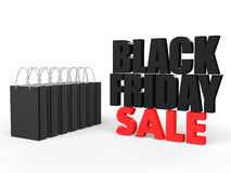 3d shopping bags black Friday sale. 3d render of shopping bags black Friday sale Stock Images