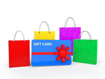 3d shopping bags and gift card. 3d render of shopping bags and gift card isolated on white background Stock Photo