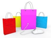 3d shopping bags and mouse. 3d render of shopping bags and computer mouse Stock Photo