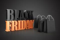 3d shopping bags, sale concept. Black Friday Stock Photos