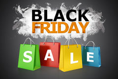 3d shopping bags, sale concept. Black Friday Royalty Free Stock Photo