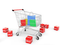3d shopping bags in shopping cart with sale cubes. 3d render of shopping bags in shopping cart with sale cubes Stock Photos