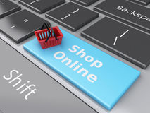 3d Shopping basket on computer keyboard. Online shopping concept. 3d renderer illustration. Shopping basket on computer keyboard. Online shopping concept Royalty Free Stock Image