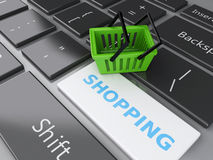 3d Shopping basket on computer keyboard. Online shopping concept Royalty Free Stock Photo