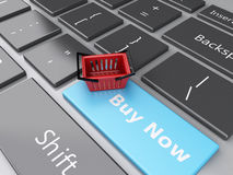 3d Shopping basket on computer keyboard. Online shopping concept Royalty Free Stock Photos