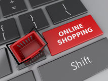 3d Shopping basket on computer keyboard. Online shopping concept Royalty Free Stock Photography
